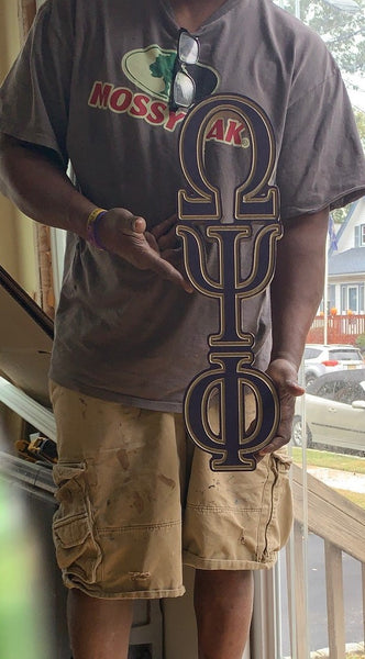 "Omega Psi Phi Fraternity - 23"" (Inch) Big Block Letters Vertical (Painted)"