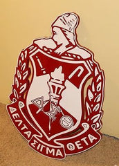 "Delta Sigma Theta Sorority - 27"" (Inch-Long) Carved Shield (Painted)"
