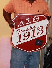 "Delta Sigma Theta Sorority - 20"" (Inch) Carved Battle Shield (Painted)"