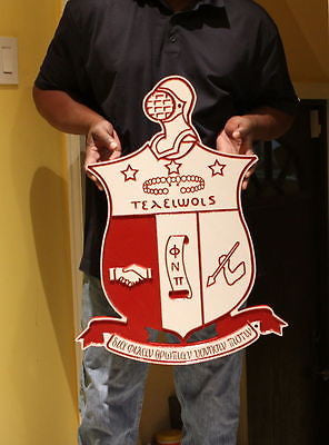 "Kappa Alpha Psi Fraternity - 26"" (Inch-Long) Carved Throwback Shield (Painted)"