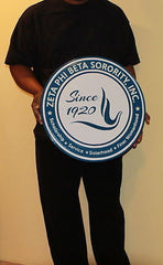 "Zeta Phi Beta Sorority - 20"" (Inch) Carved Full Crest (Painted)"