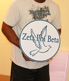 "Zeta Phi Beta Sorority - 16"" (Inch) Carved Circle of Dove (Painted)"