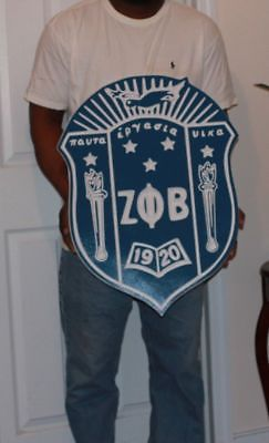 "Zeta Phi Beta Sorority - 24"" (Inch) Carved Shield (Painted)"
