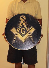 "Round Plaque Masonic Compass and Square  - 24"" (Inch) Carved  (Painted)"