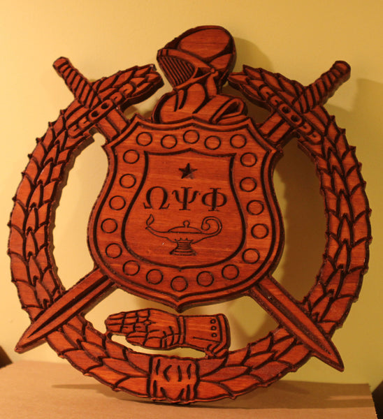 "Omega Psi Phi Shield Stained (E) - 24"" Tall"