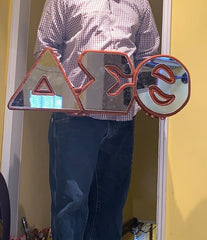 "Delta Sigma Theta - Wood and Acrylic Glass Mirror Letters 31"" Wide"