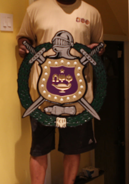 "Omega Psi Phi Lighted Shield - Painted (C) - 24"" Tall"