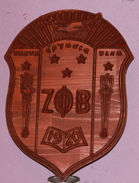 "Zeta Phi Beta Sorority Crest (Stained) - 24"" Tall"