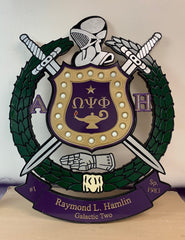 "Omega Psi Phi Fraternity - Banner 30"" (Inch) Lighted Carved Shield (Painted)"