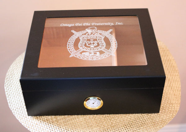 Omega Psi Phi Black Finish Glass Top Cigar Humidor (Holds 40-50)