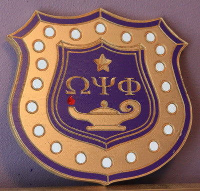 "Omega Psi Phi Inner Shield (M) - 16"" Tall (Painted)"