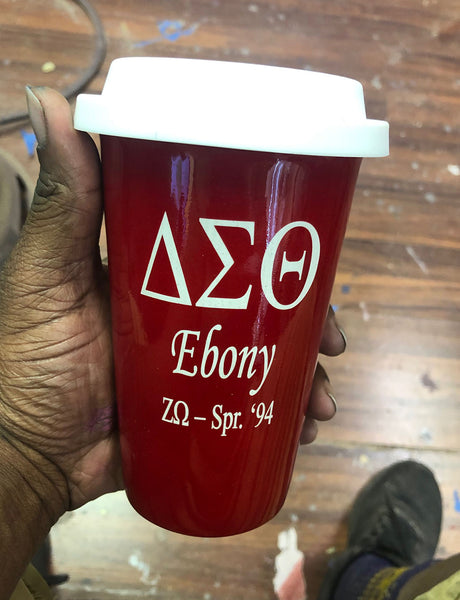 ENGRAVED Delta Sigma Theta Sorority - Latte Cup w/Lid  (Quantity 2)