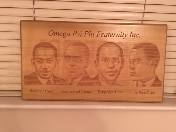 "Omega Psi Phi Fraternity - Founders Plaque 8"" x 14"" Engraved Natural Wood"