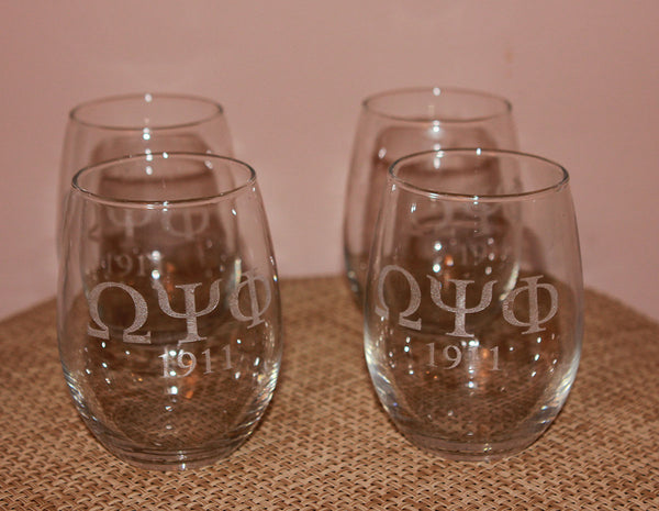 Omega Psi Phi Fraternity - Stemless Wine Glasses (SET OF 4)