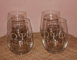ENGRAVED Omega Psi Phi Fraternity - Set (Quantity 4) of Stemless Wine Glasses