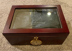 Kappa Alpha Psi (The Gran) Glass Top Cigar Humidor (Custom) - Holds 100 Cigars