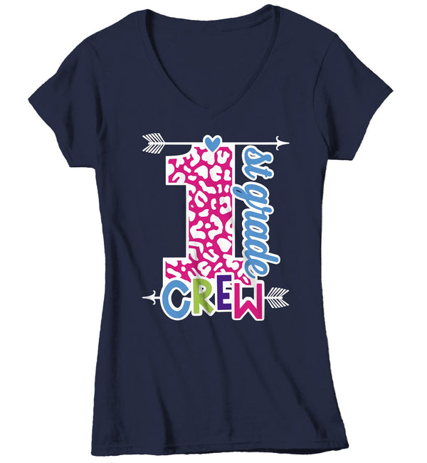 Women's First Grade Teacher T Shirt 1st Grade Crew T Shirt Cute Leopard Print Shirt 1st Teacher Gift Shirts-Shirts By Sarah