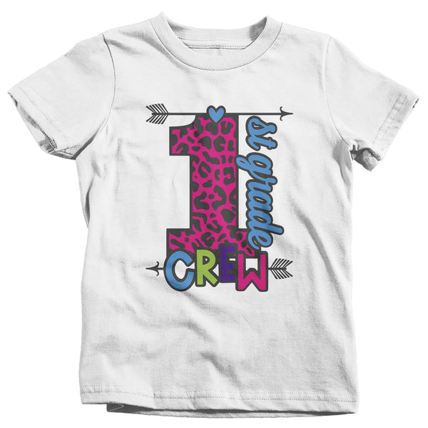 Girls First Grade T Shirt 1st Grade Crew T Shirt Cute Leopard Print Shirt 1st Grade Back To School Shirts-Shirts By Sarah