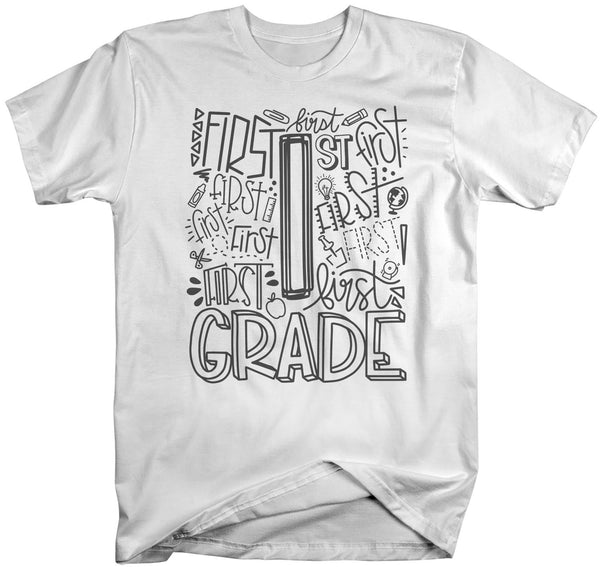 Men's First Grade Teacher T Shirt 1st Grade Typography T Shirt Cute Back To School Shirt 1st Teacher Gift Shirts-Shirts By Sarah