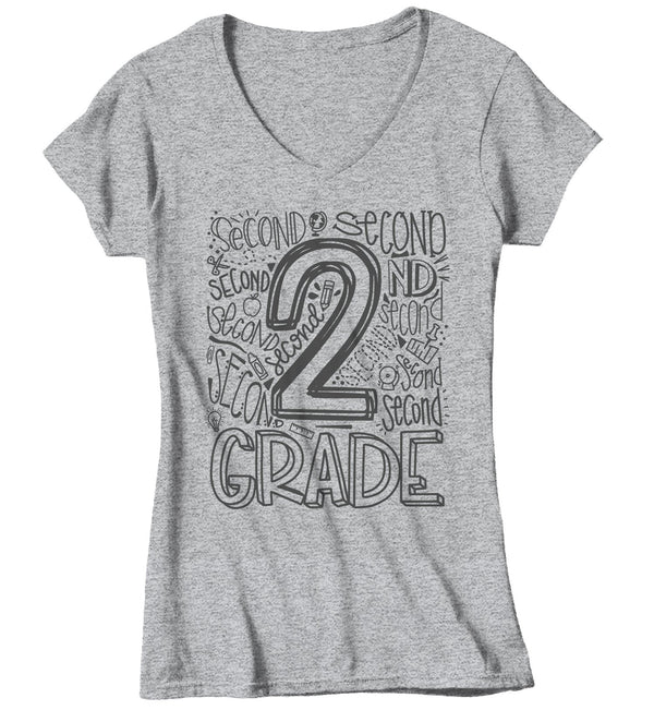 Women's Second Grade Teacher T Shirt 2nd Grade Typography T Shirt Cute Back To School Shirt 2nd Teacher Gift Shirts-Shirts By Sarah