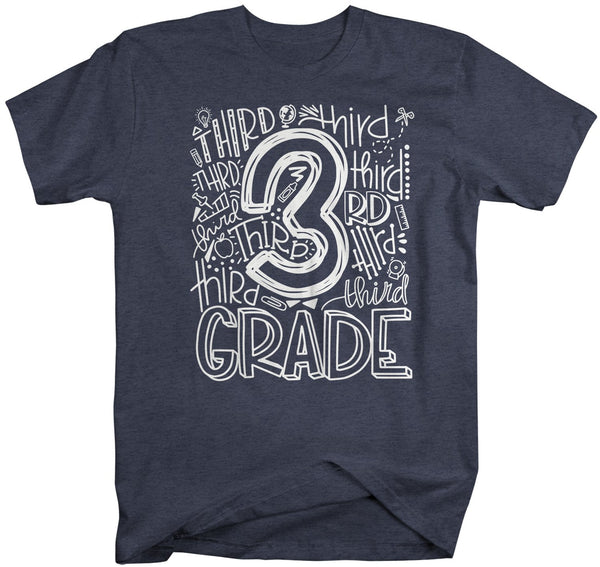 Men's Third Grade Teacher T Shirt 3rd Grade Typography T Shirt Cute Back To School Shirt 3rd Teacher Gift Shirts-Shirts By Sarah