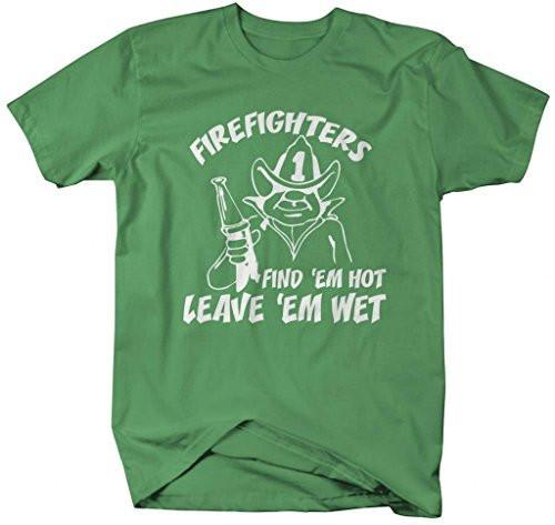 Shirts By Sarah Men's Funny Firefighter T-Shirt Find Hot Leave Wet Shirts-Shirts By Sarah