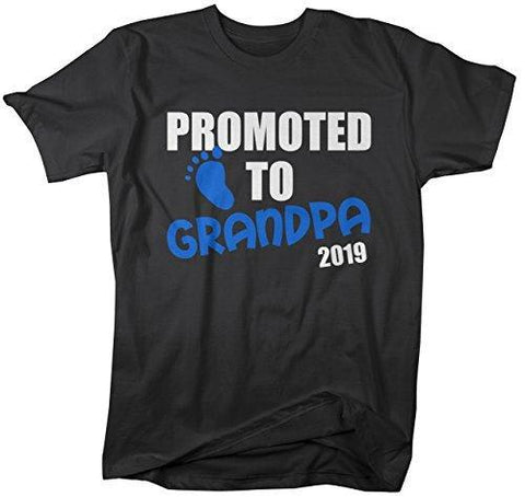 Shirts By Sarah Men's Promoted To Grandpa 2019 Shirt Grandparents Baby Reveal-Shirts By Sarah