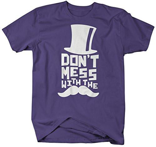 Shirts By Sarah Men's Funny Hipster Don't Mess With The Mustache T-Shirt-Shirts By Sarah