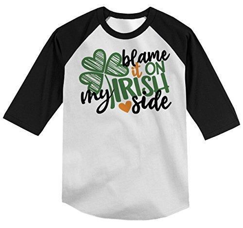 Shirts By Sarah Youth Funny Irish Side T-Shirt ST. Patrick's Day Shamrock Raglan Tee Blame-Shirts By Sarah