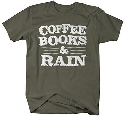 Shirts By Sarah Men's Coffee Books And Rain T-Shirt Readers Shirts-Shirts By Sarah