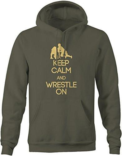 Shirts By Sarah Men's Men's Keep Calm Wrestle On Hoodie Wrestling Pullover-Shirts By Sarah