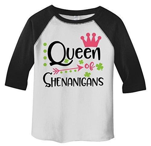 Shirts By Sarah Girl's Toddler Queen Of Shenanigans Funny T-Shirt ST. Patrick's Day Raglan Tee-Shirts By Sarah
