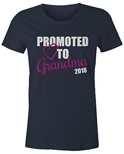 Shirts By Sarah Women's Promoted To Grandma 2018 T-Shirt New Grandparents Baby Reveal-Shirts By Sarah