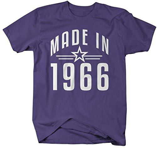 Shirts By Sarah Men's Made In 1966 Birthday T-Shirt Retro Star Custom Shirts-Shirts By Sarah