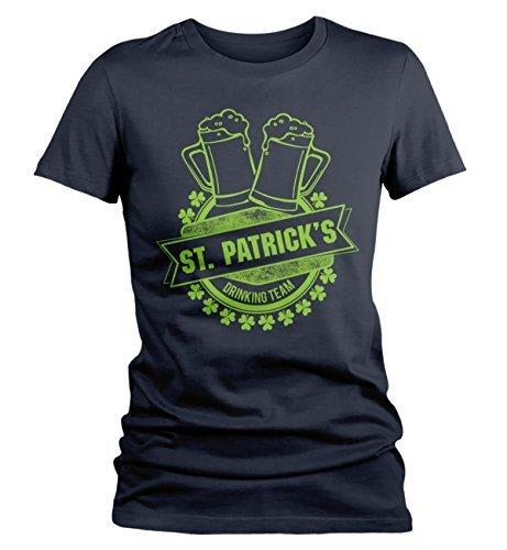 Shirts By Sarah Women's ST. Patrick's Drinking Team T-Shirt Beer Mugs Tee-Shirts By Sarah