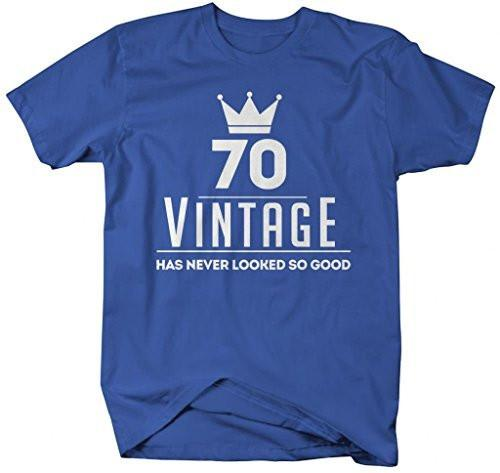 Shirts By Sarah Men's Funny 70th Birthday T-Shirt Vintage Never Looked So Good Shirts-Shirts By Sarah