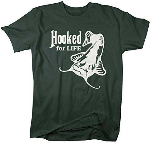 Shirts By Sarah Men's Hooked For Life Catfish Fishing T-Shirt-Shirts By Sarah
