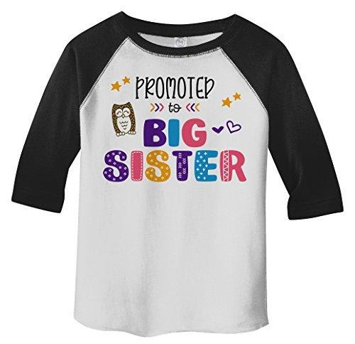 Shirts By Sarah Girl's Toddler Promoted To Big Sister Fun Owl 3/4 Sleeve Raglan Tee-Shirts By Sarah