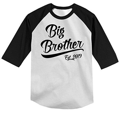 Shirts By Sarah Boy's Toddler Big Brother EST. 2019 T-Shirt Promoted to T-Shirt 3/4 Sleeve Raglan-Shirts By Sarah
