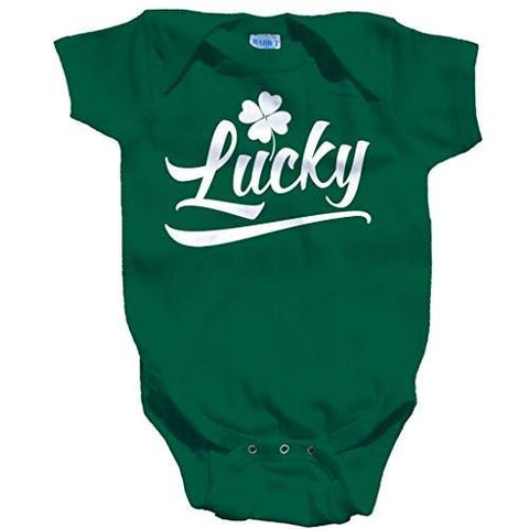 Shirts By Sarah Baby St. Patrick's Day Creeper Lucky Shamrock One Piece Creeper - Green / 12 Months