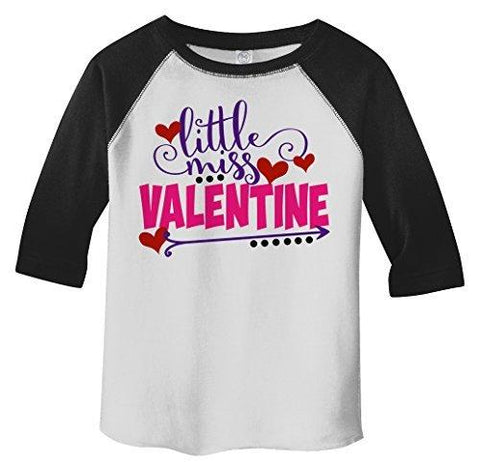 Shirts By Sarah Girl's Toddler Little Miss Valentine Funny Valentines Day 3/4 Sleeve T-Shirt-Shirts By Sarah