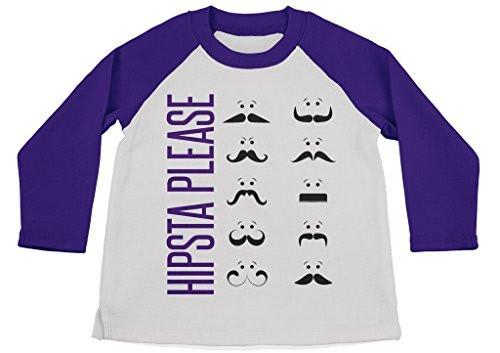 Shirts By Sarah Boy's Funny Hipster Shirt Hipsta Please Mustache 3/4 Sleeve Raglan Shirts-Shirts By Sarah
