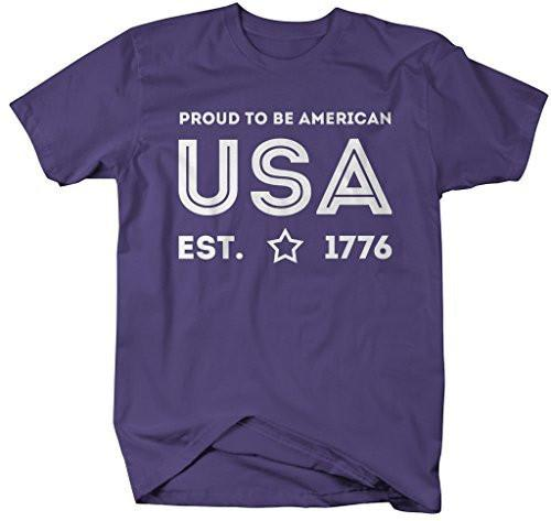 Shirts By Sarah Men's USA T-Shirt Proud To Be American 4th July Shirts-Shirts By Sarah