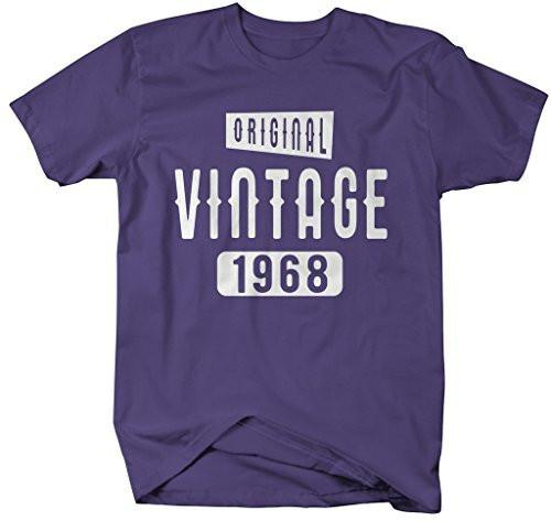 Shirts By Sarah Men's Original Vintage Birthday Year Shirts Made In 1968 T-Shirt-Shirts By Sarah
