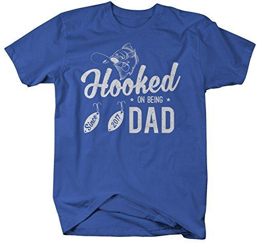 Shirts By Sarah Men's Hooked On Being Dad Since 2017 T-Shirt Fishing-Shirts By Sarah