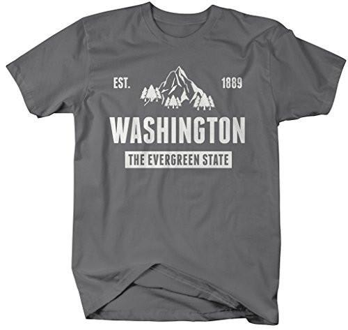 Shirts By Sarah Men's Washington State Nickname Shirt The Evergreen State T-Shirts Est. 1889-Shirts By Sarah