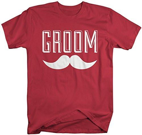 Shirts By Sarah Men's Groom Mustache T-Shirt Wedding Shirt-Shirts By Sarah