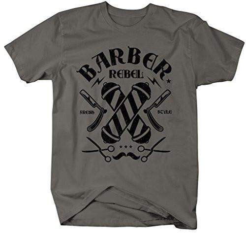 Shirts By Sarah Men's Barber Shirt Fresh Style Rebel Ring Spun Cotton T-Shirt-Shirts By Sarah