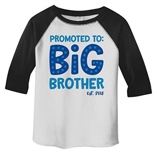 Shirts By Sarah Boy's Toddler Promoted To Big Brother EST. 2018 3/4 Sleeve Raglan-Shirts By Sarah