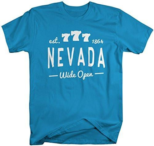 Shirts By Sarah Men's Nevada State Slogan Shirt Wide Open T-Shirt Est. 1864-Shirts By Sarah